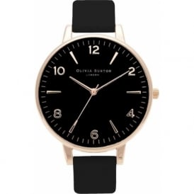 OB15EX52 Modern Vintage Black Dial & Rose Gold Leather Ladies Watch