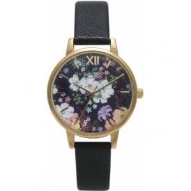 Olivia Burton OB15FS55 Flower show Gold & Black Leather Ladies Watch
