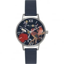 Olivia Burton OB15MG03 Oriental Opulence Silver & Navy Ladies Leather Watch