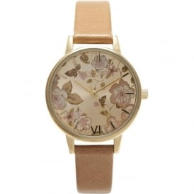 Olivia Burton OB15PL20 Parlour  Gold & Camel Leather Ladies Watch