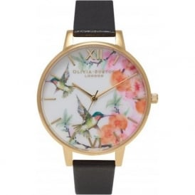 Olivia Burton OB15PP01 Painterly Prints Hummingbird Black & Gold Ladies Watch