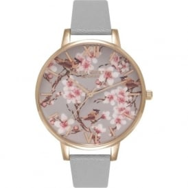Olivia Burton OB15PP09 Painterly Prints Rose Gold & Grey Leather Ladies Watch