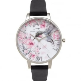 Olivia Burton OB15PP10 Painterly Prints Silver & Dark Grey Leather Ladies Watch