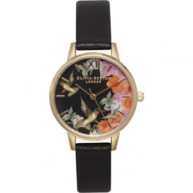 Olivia Burton OB15PP11 Painterly Prints Hummingbird Black & Gold Ladies Watch