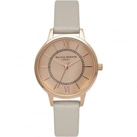 Olivia Burton OB15WD45 Wonderland Rose Gold & Grey Leather Ladies Watch