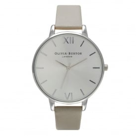 OB15BD57 Big Dial Grey & Silver Leather Ladies Watch