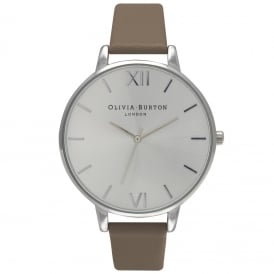 Olivia Burton OB15BD63 Big Dial Silver & Taupe Leather Ladies Watch