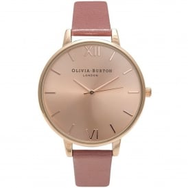 OB15BD78 Big Dial Rose & Rose Gold Leather Ladies Watch