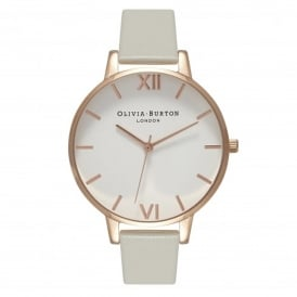 Olivia Burton OB15BDW02 Big Dial Grey & Rose Gold Leather Watch