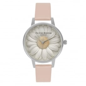OB15EG39 Flowershow 3D Daisy Dusty Pink & Silver Leather Ladies Watch