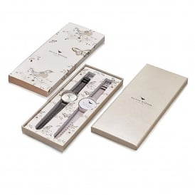 Olivia Burton OB15GSET02 Big Dial Black, Lilac & Silver Leather Interchangeable Strap Gift Set