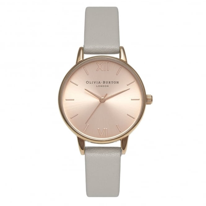 Olivia Burton OB15MD46 Midi Dial Grey & Rose Gold Leather Ladies Watch