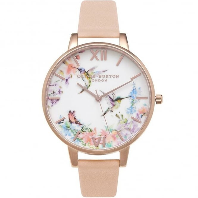 Olivia Burton OB15PP12 Painterly Prints Hummingbird Nude Peach & Rose Gold Leather Ladies Watch