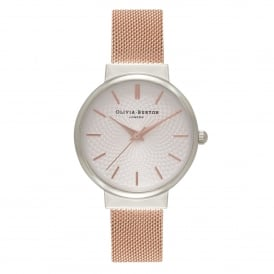 OB15TH18 The Hackney Silver & Rose Gold Mesh Ladies Watch