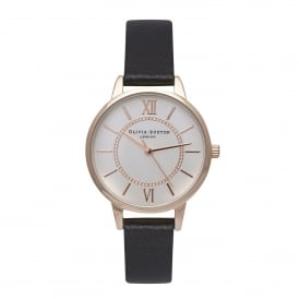 OB15WD59 Wonderland Black, Rose Gold & Silver Mix Leather Ladies Watch