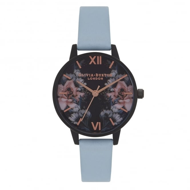 Olivia Burton OB16AD02 After Dark Floral IP Black, Chalk Blue & Rose Gold Leather Ladies Watch