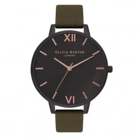 OB16AD05 Big Dial After Dark IP Black, Rose Gold & Khaki Leather Ladies Watch