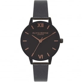 OB16AD09 After Dark Matte Black & Rose Gold Leather Ladies Watch
