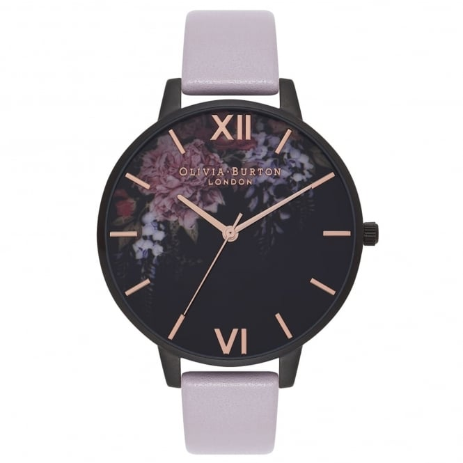 Olivia Burton OB16AD15 After Dark Floral Grey Lilac & Matte Black Leather Ladies Watch