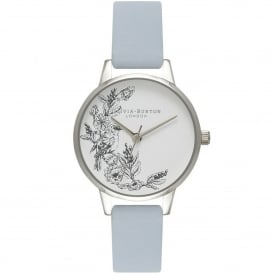 OB16AM109 Animal Motif Sparrow Chalk Blue & Silver Leather Ladies Watch