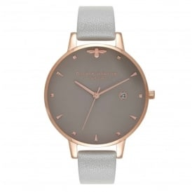 Olivia Burton OB16AM87 Queen Bee Grey & Rose Gold Leather Watch