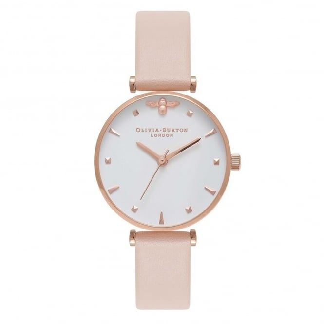 Olivia Burton OB16AM95 Queen Bee T-Bar Nude Peach & Rose Gold Leather Ladies Watch