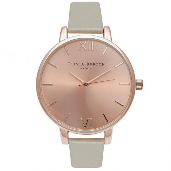 Olivia Burton OB16BD98 Big Dial Grey & Rose Gold Leather Ladies Watch