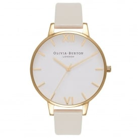 OB16BDV03 Vegan Friendly Big Dial Nude & Gold Synthetic Leather Ladies Watch