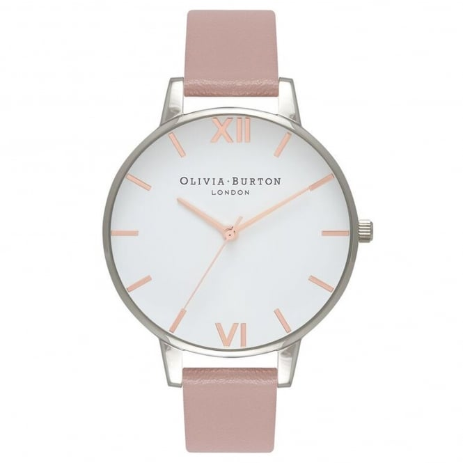 Olivia Burton OB16BDV04 Vegan Friendly Big Dial Rose Sand & Silver Synthetic Leather Ladies Watch