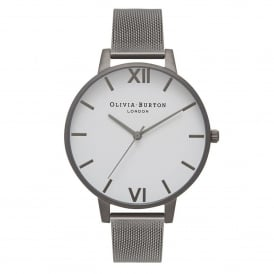 Olivia Burton OB16BDW06 White Dial Gunmetal Mesh Ladies Watch