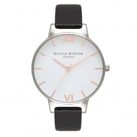 Olivia Burton OB16BDW08 Big Dial White Dial, Black, Silver & Rose Gold Leather Ladies Watch
