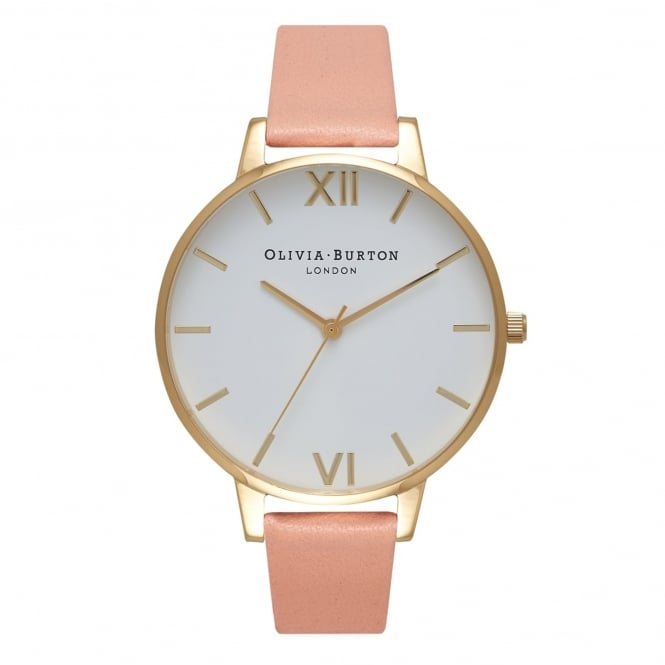 Olivia Burton OB16BDW13 Big Dial White Dial Gold & Dusty Pink Leather Ladies Watch