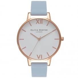 OB16BDW18 Big White Dial Blue Leather Ladies Watch