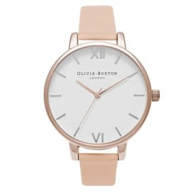 OB16BDW21 White Dial Nude Peach & Rose Gold Leather Ladies Watch