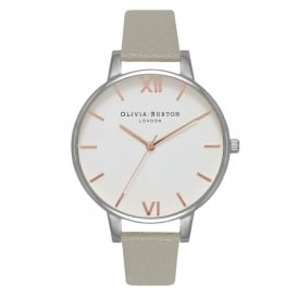 Olivia Burton OB16BDW22 Big Dial White Dial Grey, Silver & Rose Gold Leather Ladies Watch