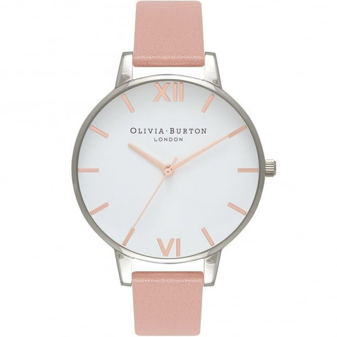 Olivia Burton OB16BDW26 Big Dial Dusty Pink, Rose Gold & Silver Leather Ladies Watch