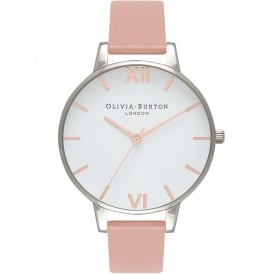 OB16BDW26 Big Dial Dusty Pink, Rose Gold & Silver Leather Ladies Watch
