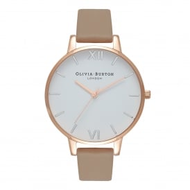 OB16BDW31 White Dial, Sand, Rose Gold & Silver Leather Ladies Watch