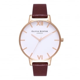 OB16BDW33 White Dial, Burgundy & Rose Gold Leather Ladies Watch