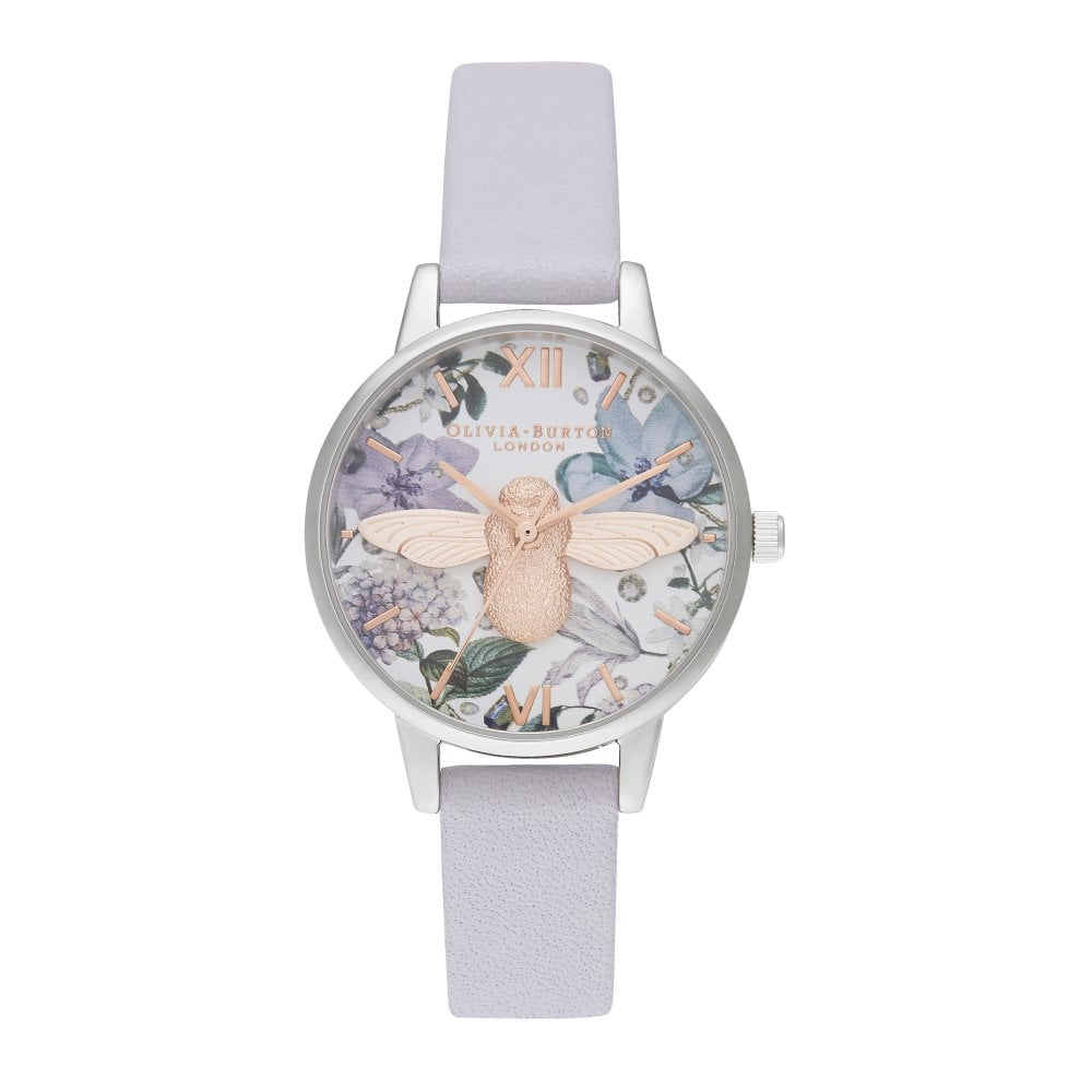 e34024910b61 OB16BF22 Bejewelled Florals Midi 3D Bee Parma Violet, Rose Gold &  Silver Leather Ladies