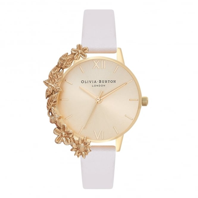 Olivia Burton OB16CB10 Case Cuff Nude & Gold Leather Ladies Watch