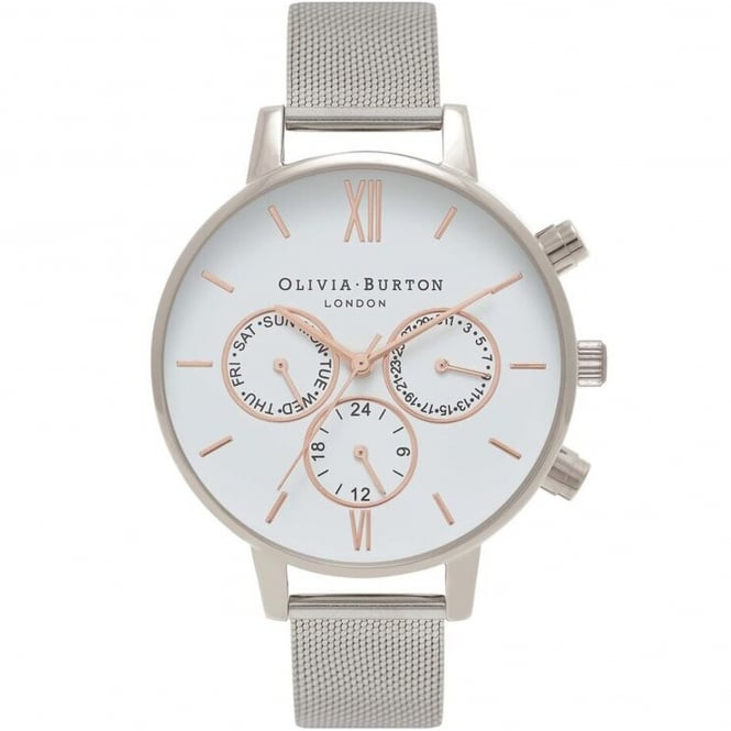Olivia Burton OB16CG87 Chrono Detail Rose Gold & Silver Mesh Ladies Watch