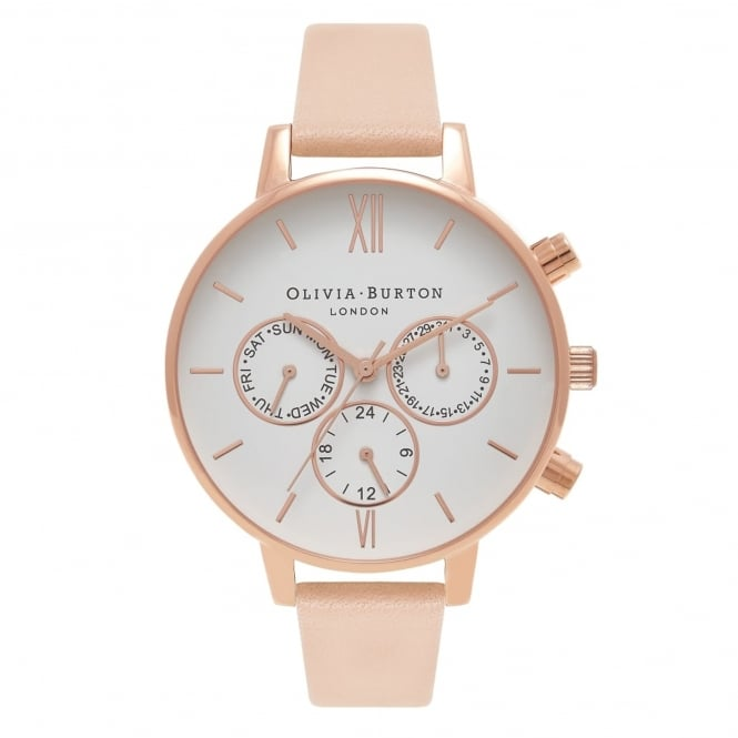 Olivia Burton OB16CG88 Chrono Dot Detail Nude Peach & Rose Gold Leather Ladies Watch