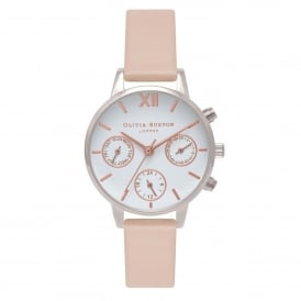 OB16CGM66 Midi Chrono Detail Nude Peach, Silver & Rose Gold Leather Ladies Watch