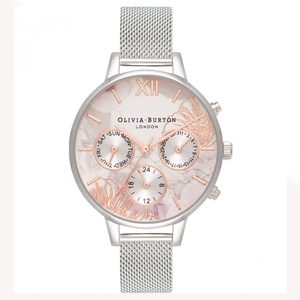 OB16CGS06 Abstract Florals Rose Gold   Silver Mesh Bracelet Watch 0df574906