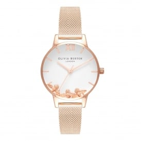 OB16CH01 Busy Bees Rose Gold Mesh Ladies Watch