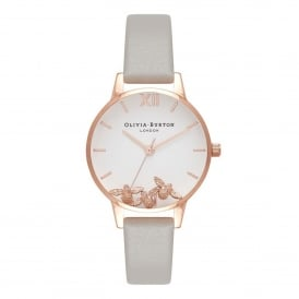 OB16CH03 Busy Bees Grey & Rose Gold Leather Ladies Watch