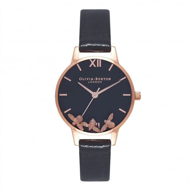 Olivia Burton OB16CH06 Busy Bees Black & Rose Gold Leather Ladies Watch