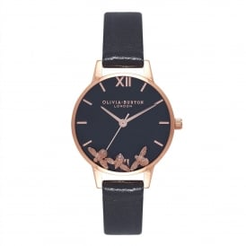 OB16CH06 Busy Bees Black & Rose Gold Leather Ladies Watch