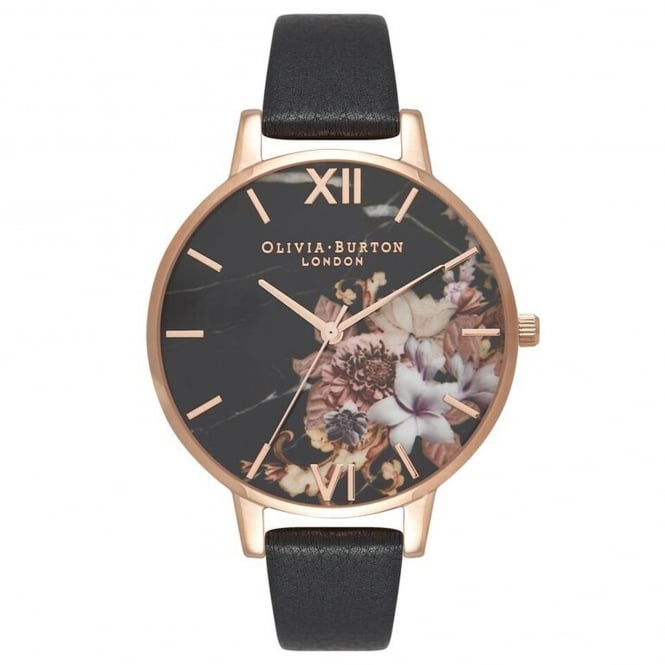 Olivia Burton OB16CS01 Marble Floral Black & Rose Gold Leather Ladies Watch